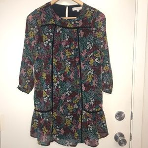 Loft Floral Dress Navy XXSP (Petite)